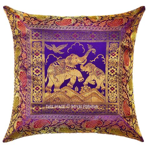 Silk Decorative Pillows by Purple Two Elephants Decorative Handcrafted Silk Brocade