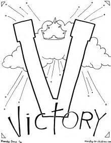 V Is for Victory in Jesus Coloring Page