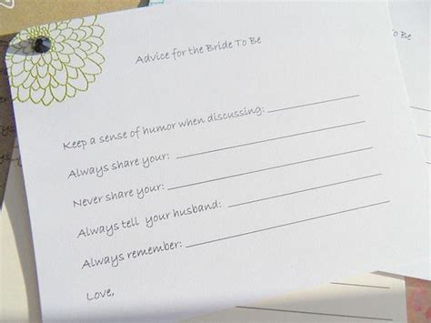 Marriage Advice Quotes For Bridal Shower by Bridal Shower Advice For To Be Advice Cards