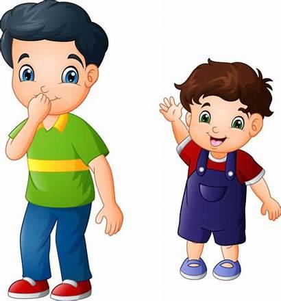 Brother Cartoon Younger Older Vector Illustration Sister