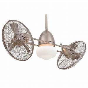 F bnw gyro wet brushed nickel outdoor dual ceiling fan