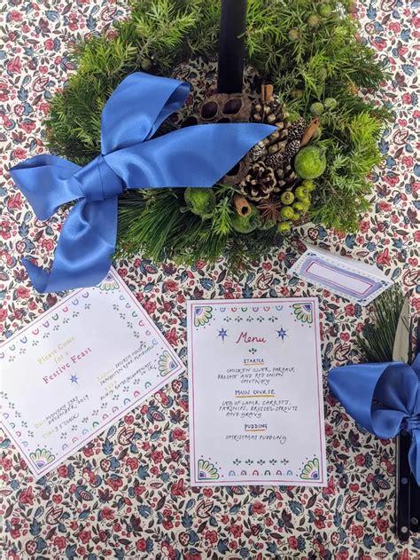 printable festive party invitation menu   card