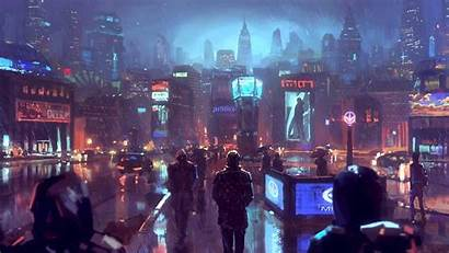 Cyberpunk Sci Fi Raining Skyscrapers Desktop Wallpapers