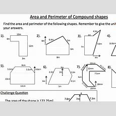 Area And Perimeter Of Compound Shapes Worksheet  Ks3 Mathematics By Sarasaurus89 Teaching
