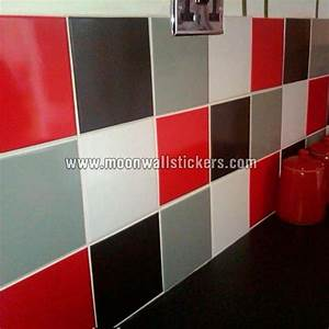 tile stickers red and black colors With kitchen colors with white cabinets with car letter stickers