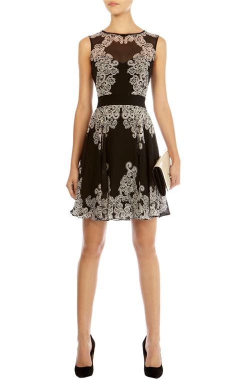 lace panel pleated dress lyst millen lace print dress in black