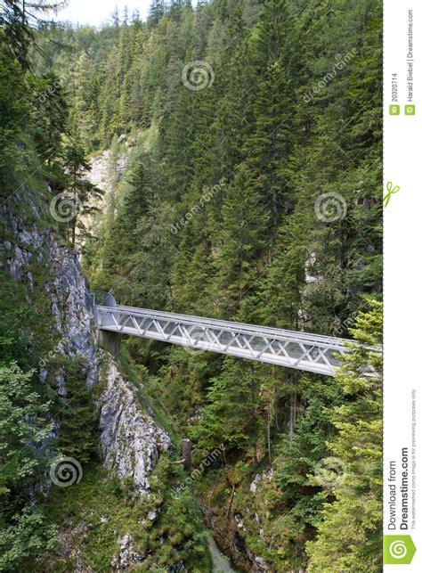 Metal Bridge Inside The Leutasch Gorge In Bavaria Stock