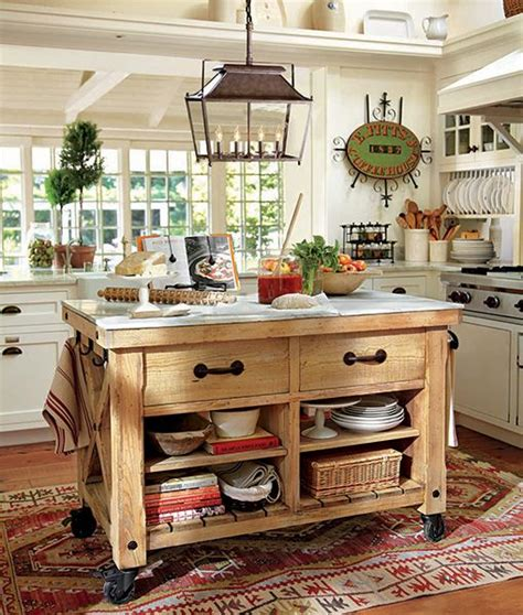 pottery barn kitchen islands une cuisine rustique cuisine 4378