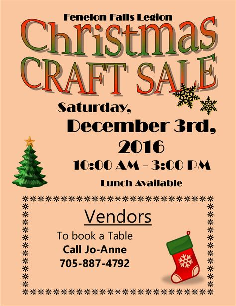 christmas craft sale fenelon falls legion 238