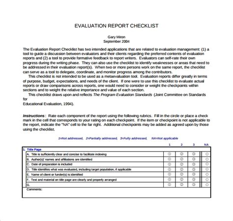 sample evaluation report  documents   word