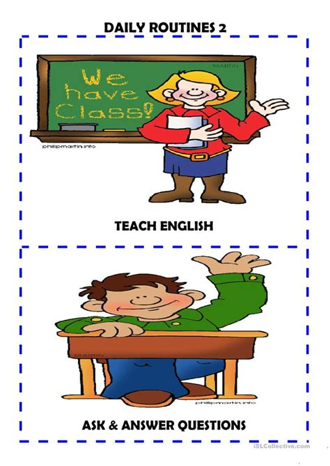 daily routines flash cards  worksheet  esl
