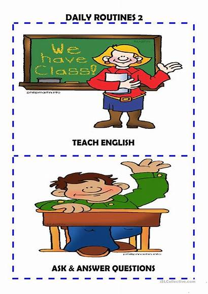 Daily Routines Flash Cards Flashcards Worksheets Esl