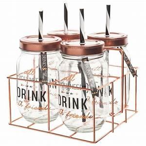 Bocal Avec Paille : coffret 4 bocaux avec paille support m tal copper cuivre or rose pinterest bocal ~ Teatrodelosmanantiales.com Idées de Décoration