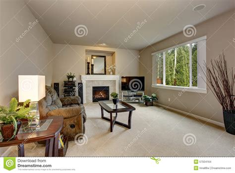 Minimalistic Living Room With White Carpet. Stock Photo Thermostat For Gas Fireplace Cheap Electric Inserts Fake Outdoor Best Stone Surround Space Heater Indoor Glass Pebbles Shelves Around