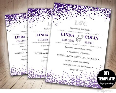 Creative Wedding Invitation Template Confetti Wedding