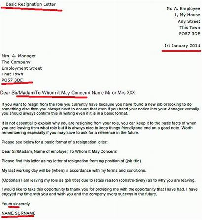 Resignation Letter Basic Notice Change Template Examples