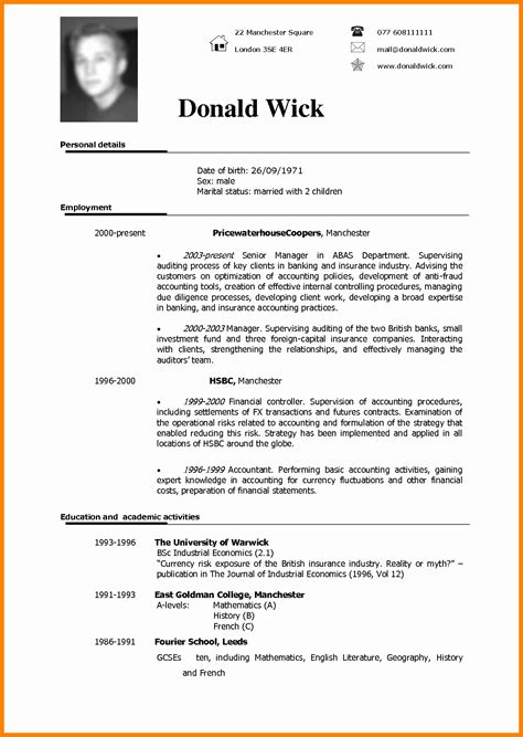 Resume Usa Exle by 7 Cv In Usa Format Theorynpractice