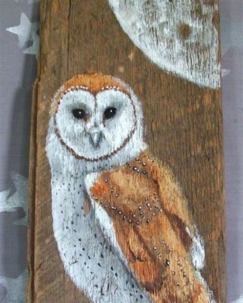barn owl authentic barnwood rustic hand painted