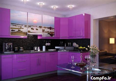 purple backsplash kitchen دکوراسیون آشپزخانه و طرح های جدید از مدل کابینت 1679