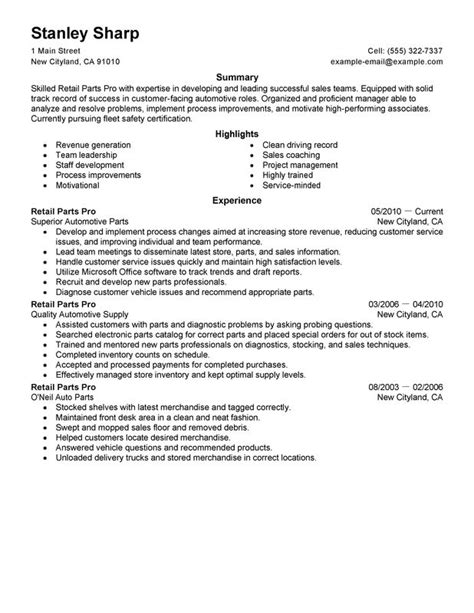 Automotive Parts Manager Resume unforgettable retail parts pro resume exles to stand