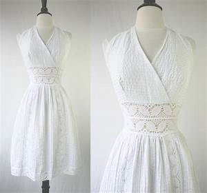 vintage 60s dress white halter sundress mexican wedding With sundress wedding dress