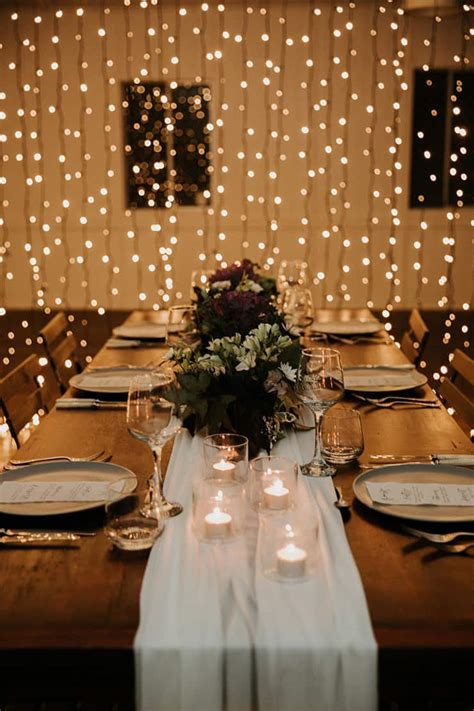 modern indoor wedding styling ideas  fairy lights