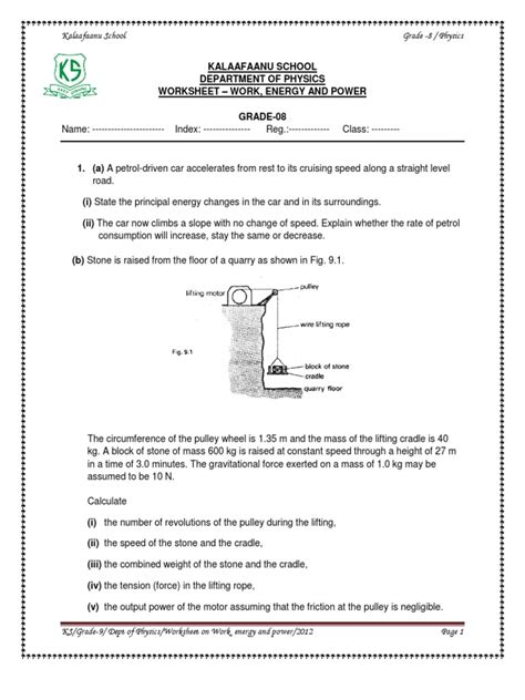 work energy and power worksheet potential energy mass