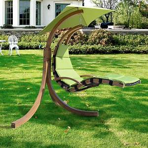 Outdoor Wooden Hanging Chaise Lounger Arc Stand Hammock ...