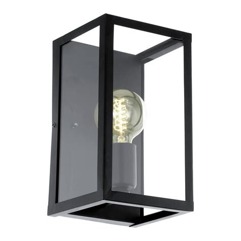 eglo 49394 charterhouse box wall light in black steel and