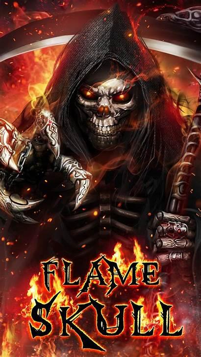 Skull Flaming Reaper Grim Flame Wallpapers Badass