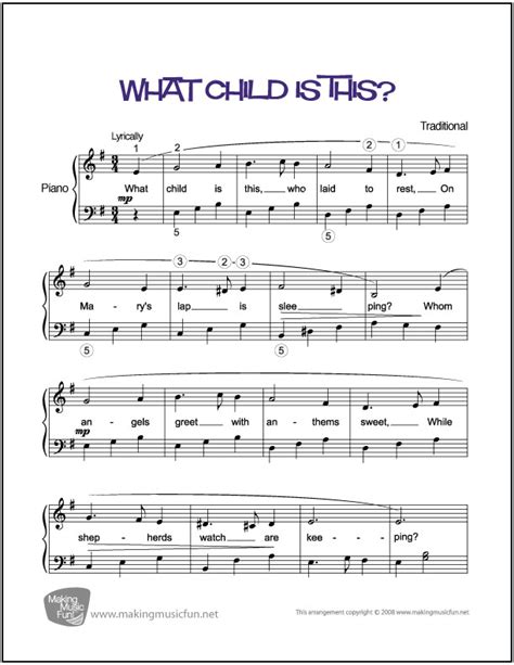what child is this easy piano sheet music digital print