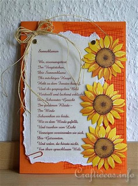 greeting card crafts sunflower card