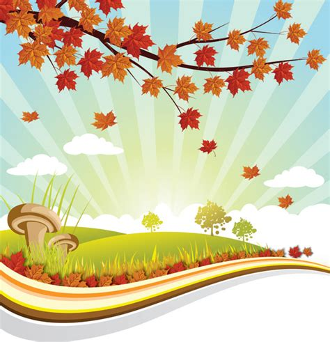 autumn landscape illustration vector background