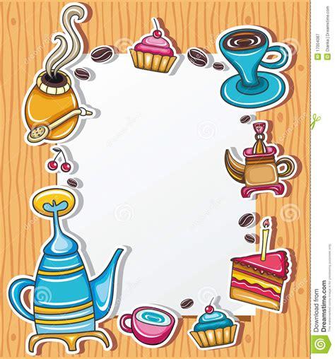 cute coffee frame  stock vector illustration