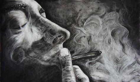 Im Rauch Die Erinnerung  Rauch, Schwarz, Pastellmalerei