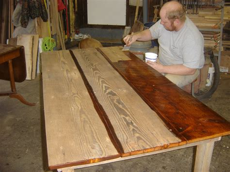 sanding and staining wood table workbench building ideas diy entry storage shelf plans