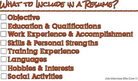 put   resume tips  sections  include