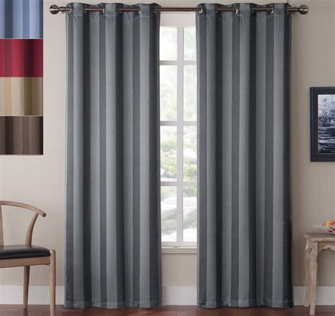 2 Grommet Curtains by Blackout Striped Window Curtains 84 Inch Grommet Drape