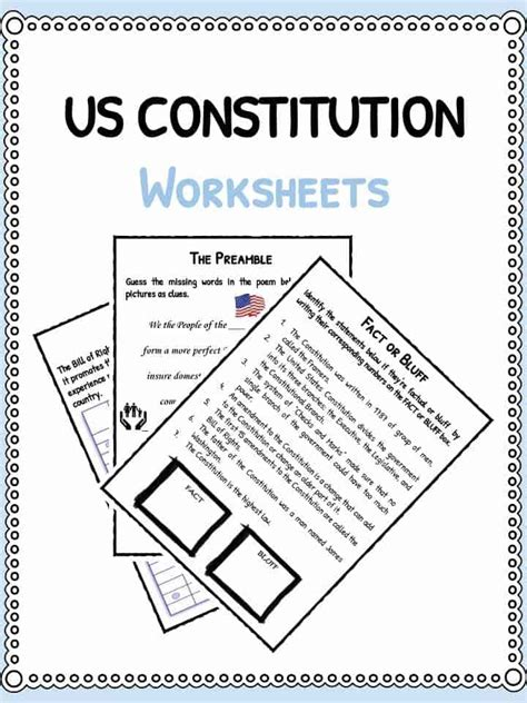 Us Constitution Facts & Worksheets  Teaching Resources
