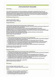 How To Write A Good Cv Examples Sample Psychiatrist Resume