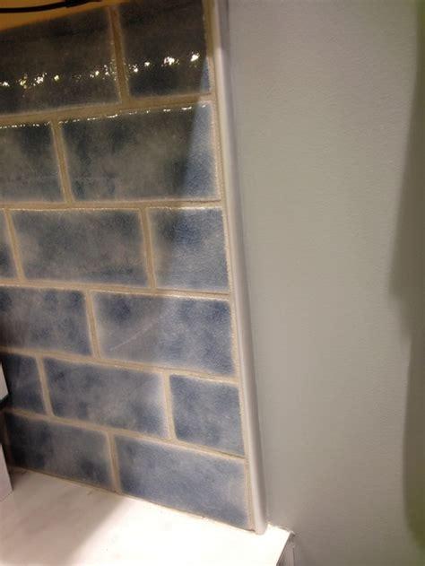 Schluter Tile Edging Backsplash by How To End Edges Of Backsplash Without Bullnose Tile