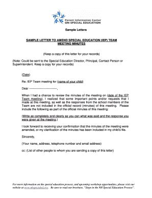 sample letter requesting iep meeting edit  fill