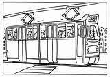 Tram Kleurplaat Tramway Coloring Colorare Disegno Transporte Strassenbahn Colorear Malvorlage Vervoer Publico Kleurplaten Coloriage Transport Transports Dessin Imagenes Coloriages Zum sketch template