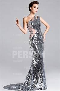 silver sheer sequin prom evening dress with brush train With robe noir brillante