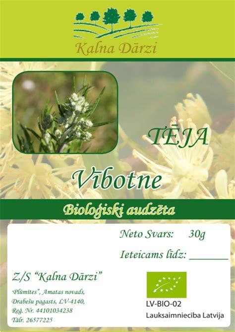 Bio tēja VĪBOTNE - BIO TĒJAS - Bioloģiski sertificēti produkti