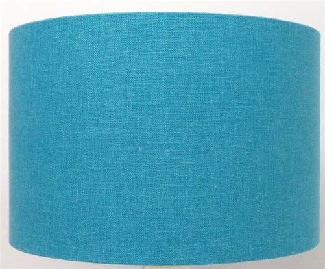 kingfisher blue teal linen mix cylinder drum lshades