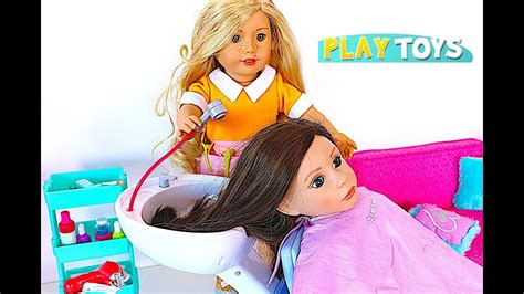 baby doll hair cut shop play american doll spa chair