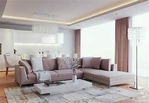 Salon Gris Et Rose : d co salon gris et blanc donnez vie votre int rieur ~ Melissatoandfro.com Idées de Décoration