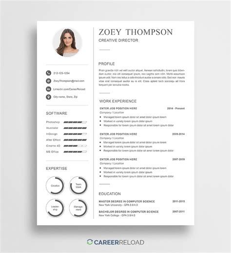 Free Resume Template by Free Modern Resume Template Zoey Career Reload