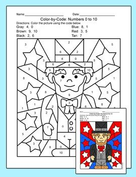 presidents day math color  number george washington abraham lincoln